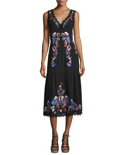 Sleeveleess Embroidered Chiffon Midi Dress, Black/Multicolor