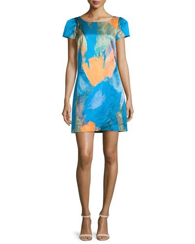 Chloe Watercolor Sateen Dress, Teal