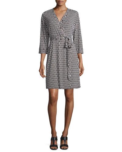 3/4-Sleeve Printed Wrap Dress, Black
