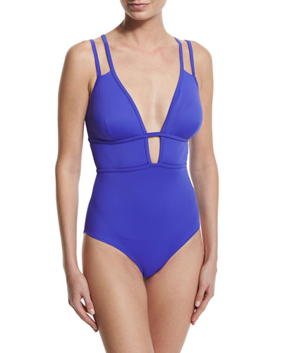 Cameron Plunge-Neck One-Piece Swimsuit