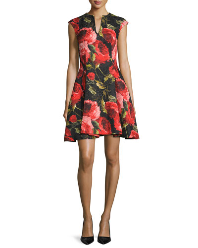 Cap-Sleeve Floral-Print Cocktail Dress, Black/Red