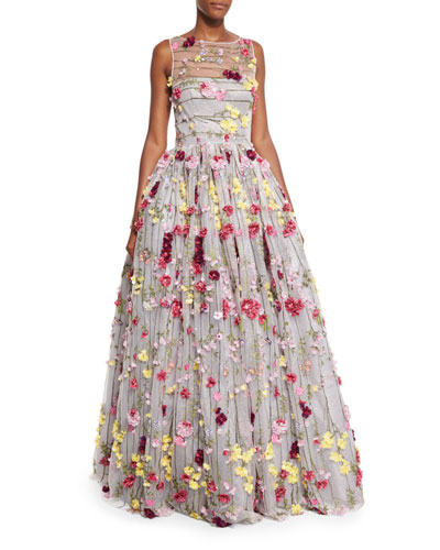 Beaded Tulle Illusion Gown w/Floral Appliques, Pink/Fuchsia/Multi