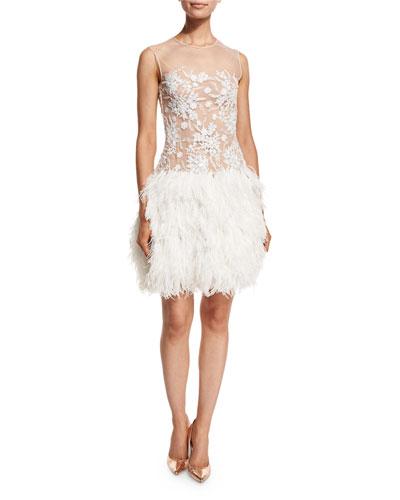 Cali Sleeveless Illusion Feather-Trim Dress, Ivory/Nude