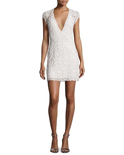 Costa Beaded Open-Back Cap-Sleeve Dress, White