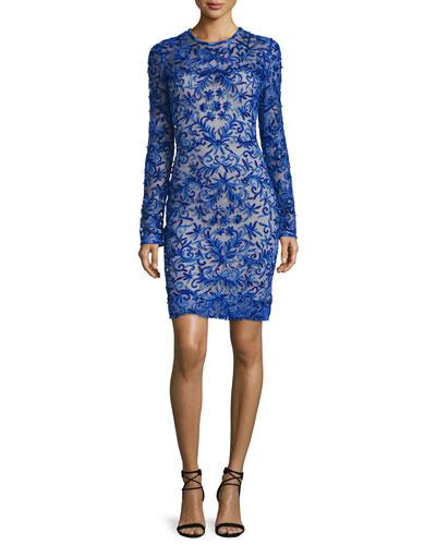 Long-Sleeve Floral-Appliqué Cocktail Dress, Royal Blue