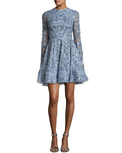 Sequined Long-Sleeve Cocktail Dress, Faded Blue