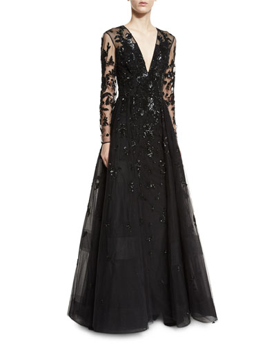 Floral-Beaded Long-Sleeve V-Neck Ball Gown, Black