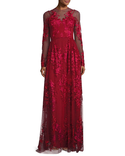 Floral-Embroidered Long-Sleeve Gown, Scarlet