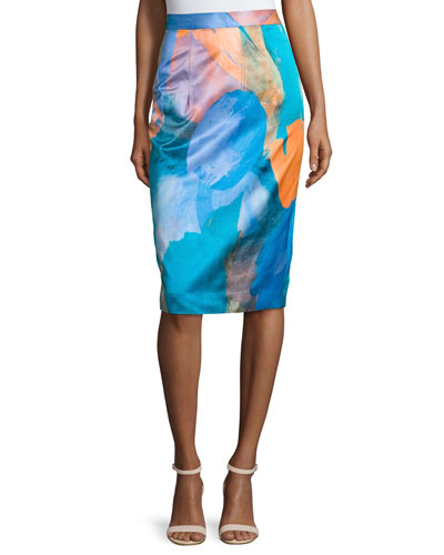 Watercolor-Print Midi Skirt, Teal
