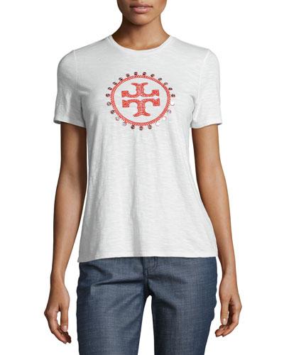 Demi Embellished Logo Tee, New Ivory