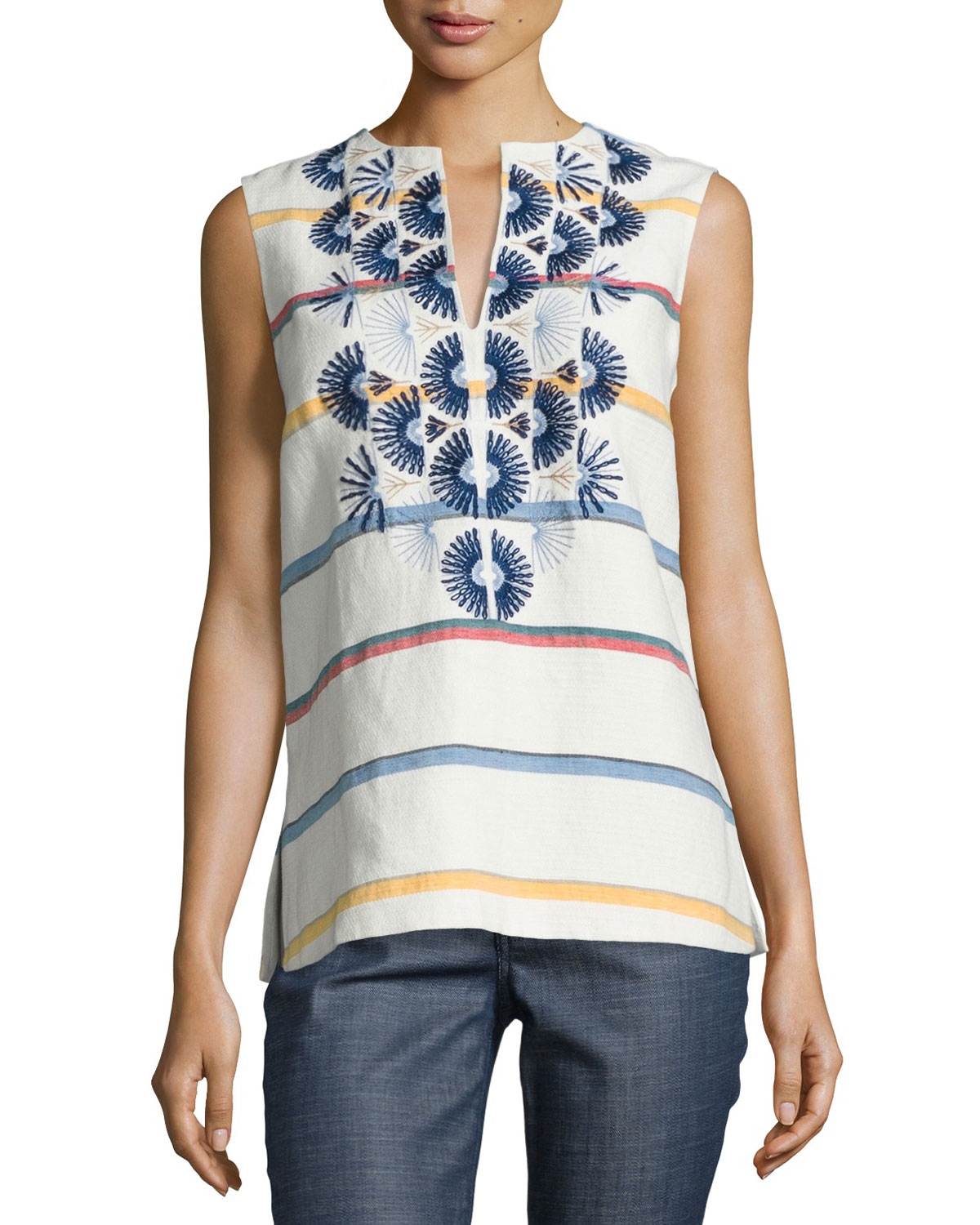 Avery Embroidered Multi-Striped Tunic, New Ivory Deck