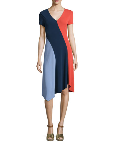 Walden Asymmetric Colorblock Dress, Royal Navy/Red Canyon