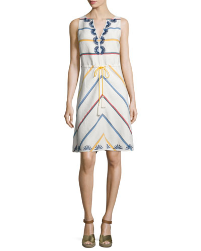 Blaine Embroidered Multi-Striped Dress, New Ivory Deck