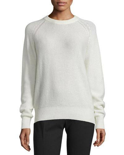 Cashmere Raglan Pullover Sweater, Ecru