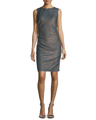 Sleeveless Metallic Sheath Dress, Teal