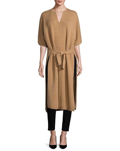 Felicie Long Half-Sleeve Cashmere Sweater, Camel