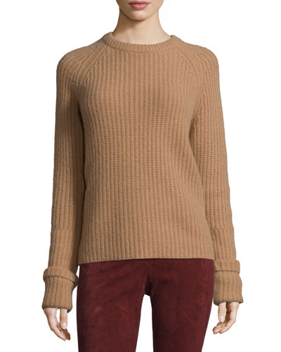 Lux Ribbed Cashmere Sweater, Camel