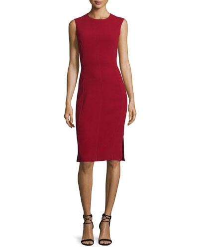 Sadie Sleeveless Stretch Crepe Sheath Dress, Oxblood