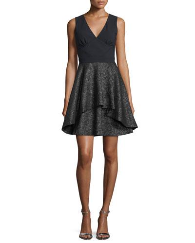 Starlight Crisscross-Back Party Dress, Black