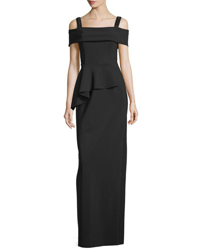 Cold-Shoulder Peplum Column Gown, Black