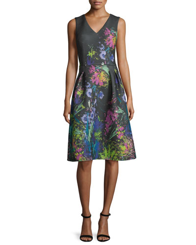 Sleeveless Ribbed Floral Dress, Black