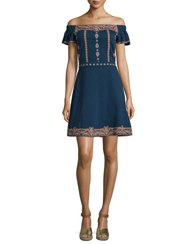 Nell Off-The-Shoulder Embroidered Dress, Royal Navy