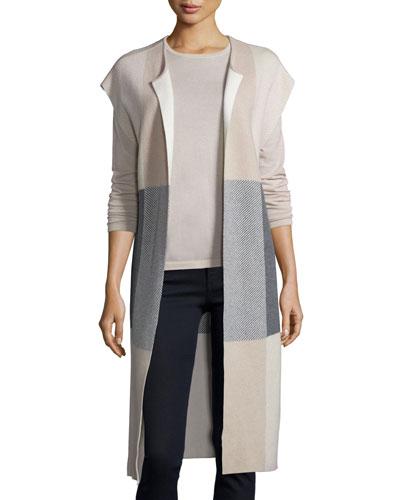 Long Dolman-Sleeve Plaid Cashmere Vest, Sand/Heather/Gray