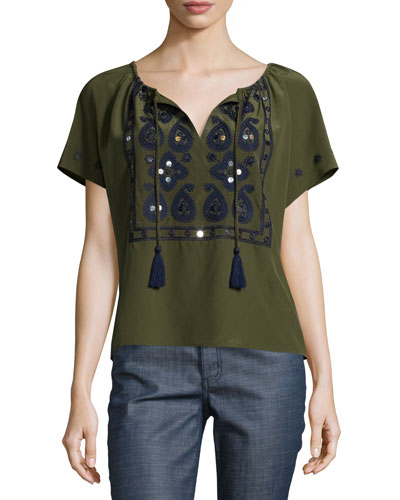 Camille Short-Sleeve Embroidered Top, Dark Olive Green