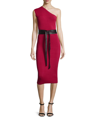 One-Shoulder Belted Cocktail Dress, Raspberry