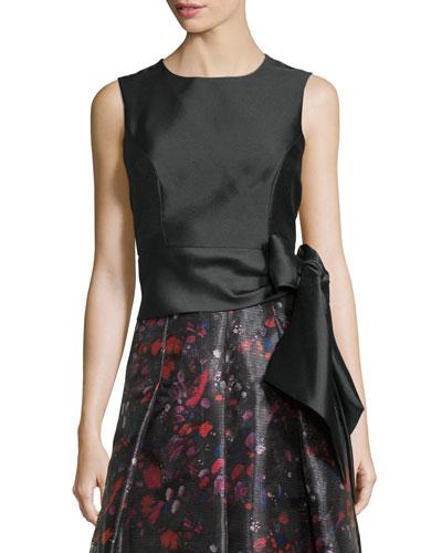 Sleeveless Side-Sash Crop Top, Black