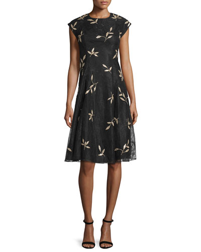 Floral-Appliqué Cocktail Dress, Jet