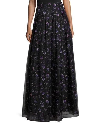 Violet-Print Organza Ball Skirt, Black/Purple