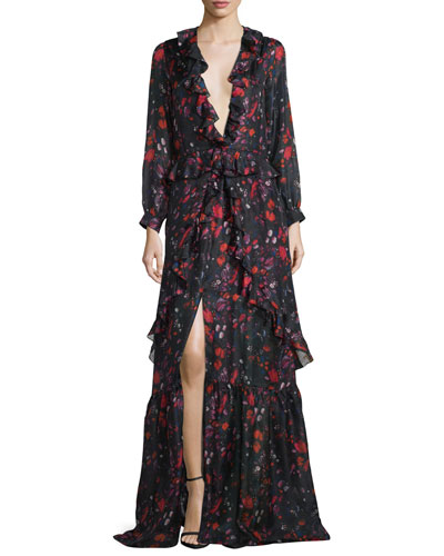 Long-Sleeve Abstract Floral Silk Gown, Cayenne Red/Black
