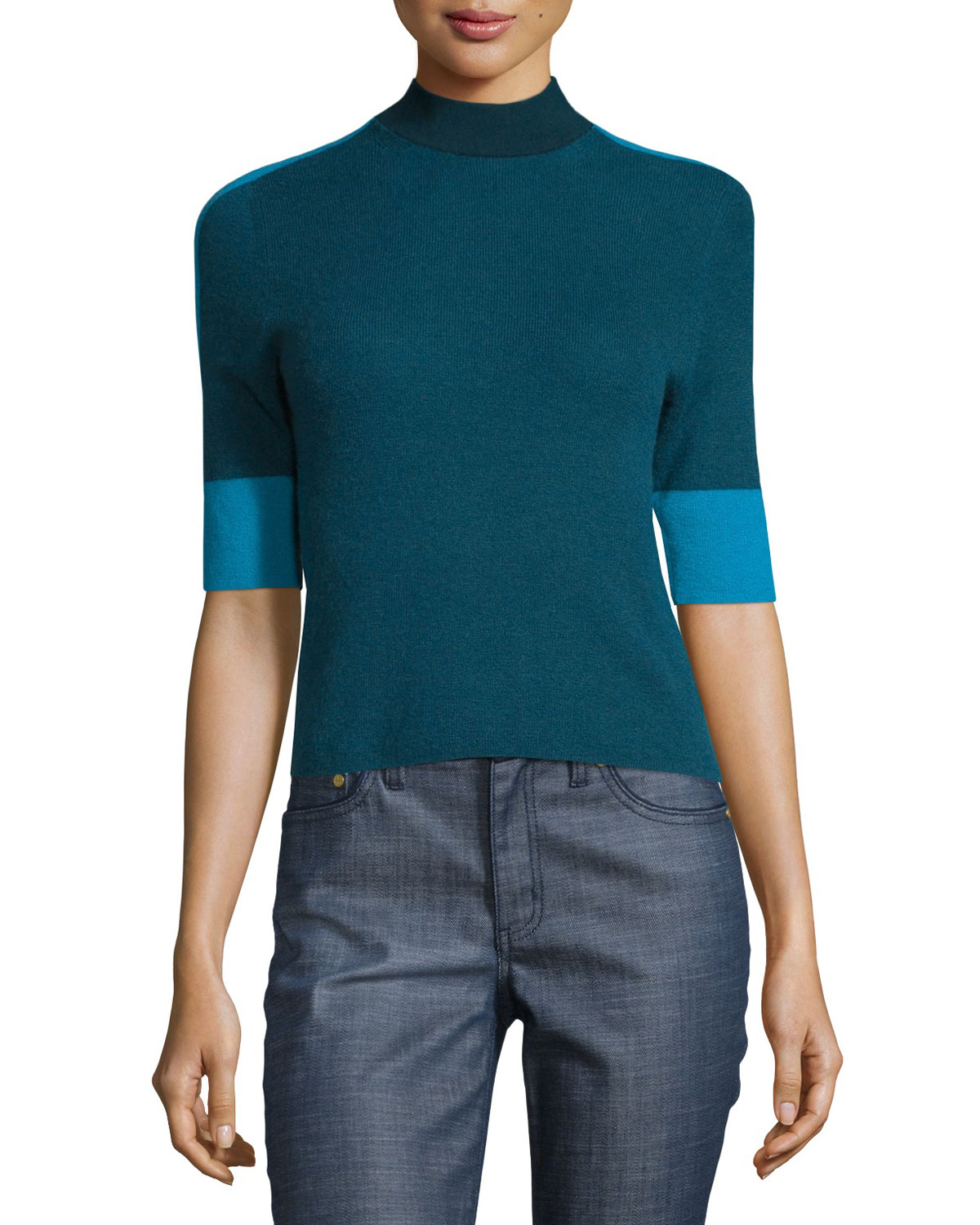 Megan Elbow-Sleeve Colorblock Cashmere Top, Oceano
