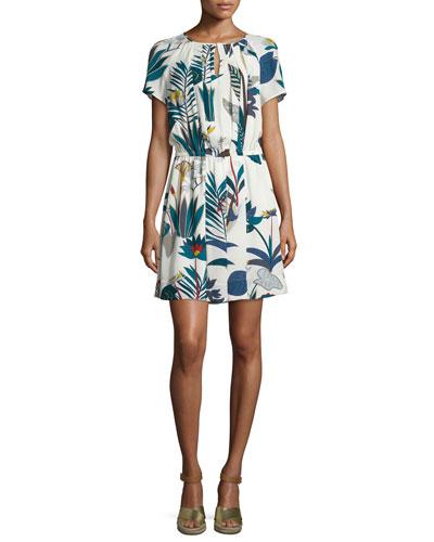 Anatolie Short-Sleeve Blouson Dress, Royal Navy