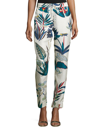 Henrieta Slim-Leg Ankle Pants, New Ivory Utopia