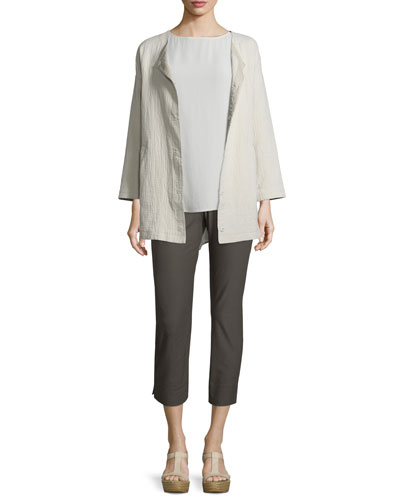 Stucco Linen/Cotton Snap-Front Jacket, Bone, Petite