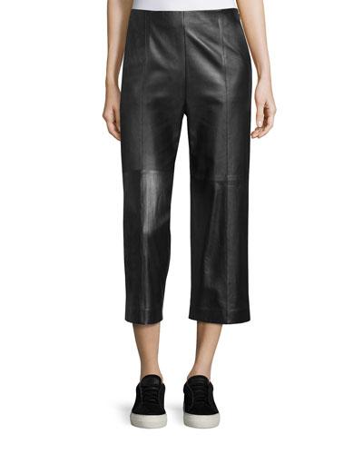 Seam-Trim Leather Culottes