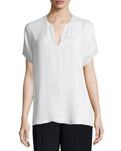 Pintuck Split-Neck Silk Top, Off White