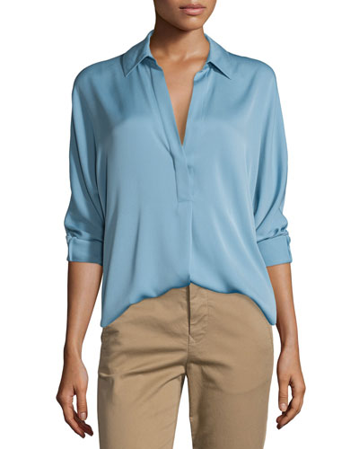 Long-Sleeve Split-Neck Silk-Blend Blouse