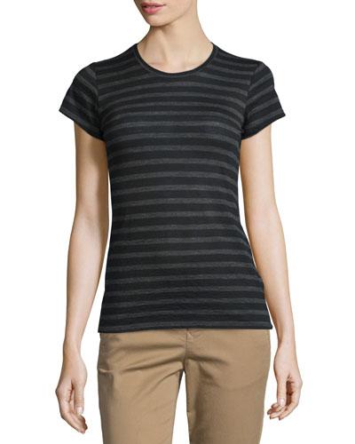 Striped Short-Sleeve Slub Tee