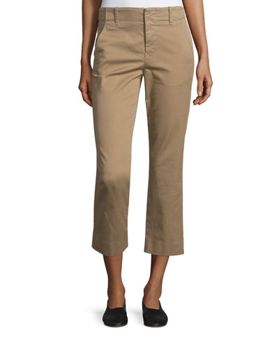 Flat-Front Cropped Chino Pants, Khaki