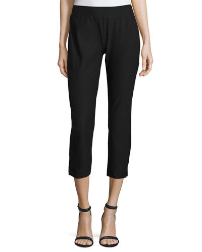 Stretch-Crepe Side-Slit Ankle Pants, Oregano, Petite
