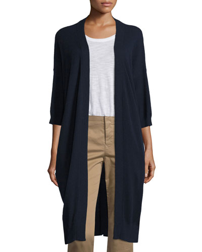 Cashmere 3/4-Sleeve Long Cardigan