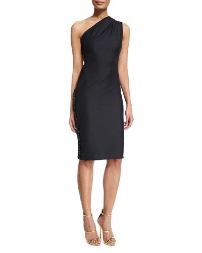 Mila One-Shoulder Cocktail Dress, Black