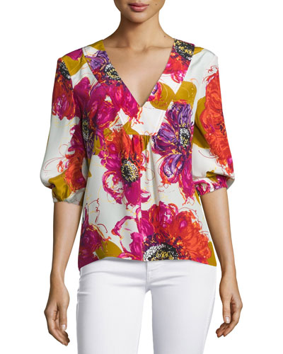 Bubble-Sleeve Floral Silk V-Neck Top, Multicolor