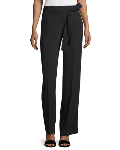 Belted Crepe Flare Pants, Black