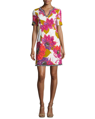 Short-Sleeve Floral Mini Dress, Multicolor