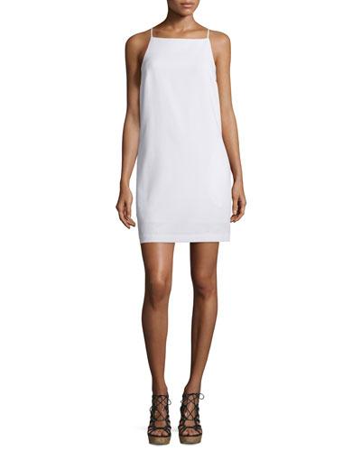 Sleeveless Woven Shift Dress, Whitewash