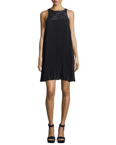 Sleeveless Pleated Shift Dress, Black